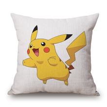 Pikachu Pokemon Cartoon Decorative Sofa Chair Cushion Cover Home Decor Vintage Sofa Throw Pillow Case Cotton Linen Cojines e933