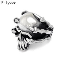 Dropship Goth Ring For Men Dragon Claw Skull Stainless Steel Vintage Jewelry Devil Skull Rings Male Anel Anillos Punk R627(China)