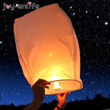 JOY-ENLIFE 10pcs/lot 14inch Paper Chinese Lanterns Fire Sky Flying Paper Candle Wish Lamp for Birthday Wish Party Wedding Decor(China)
