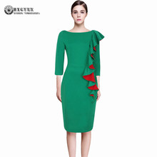 2017 Women Elegant Vintage Side Ruffle Tunic Slim Pinup Casual Work Office Business Party Dress Bodycon Skater Dresses OKA31