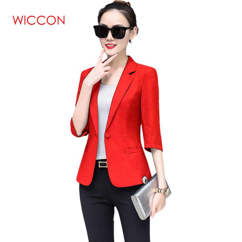 4e6f4ef55e WICCON 2019 nueva moda Casual botón chaquetas y abrigos para mujer OL  elegante de manga tres