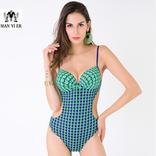 2016 New Sexy Print Big Women One Piece Swimsuit Strap Monokini Bodysuit Push-up Padded Bra Swimwear Bathing Suit free shopping(China)