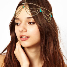 hair accessories for women headband high quality Head Turquoise Chain Jewelry Headband Party Headpiece Hair Band best gift#0