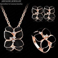 ANFASNI Jewelry Set Rose Gold Color Austrian Crystal Enamel Earring/Necklace/Ring Flower Set Choose Size of Ring ST0002-A(China)