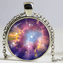 Venus necklace orange space pendant glass cabochon jewelry galaxy Necklaces colar planet Jewellery charm universe wholesale(China)