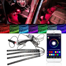 Car RGB Multi-color LED Strip Light Car Styling Decorative Atmosphere Lamps Car Interior Light Bar For iPhone Bluetooth Remote