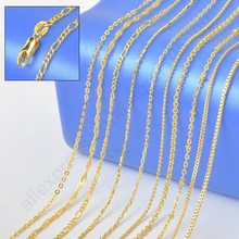 "JEXXI 10PCS Sample 18"" Mix 10 Kinds  Solid Yellow Gold Filled Venice Figaro Rolo Curb   Necklace Chains -  Stamped 1.2-2MM"