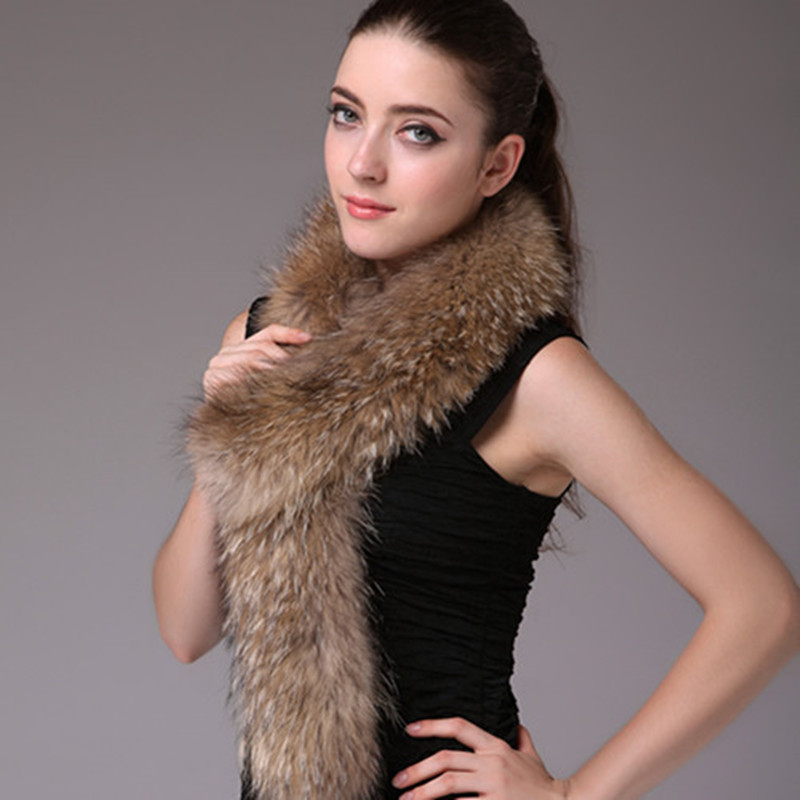 Autumn Winter Women's Genuine Real Raccoon Fur Scarf Lady Neck Muffle Cape Female Fur Collar VF0574