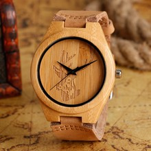 High quality bamboo quartz watch male and female handmade Elk head deer watch made of natural wood watches gifts Reloj de Man