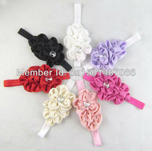 Trial order NEW  flower Headband for Photography props Fabric Satin Flower Headbands with Acryl diamond 7colors pick