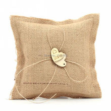 Hessian with Wooden Love Heart Rustic Country Wedding Burlap Ring Pillow 16*16cm Wedding Decorations Stuff Accessories(China)