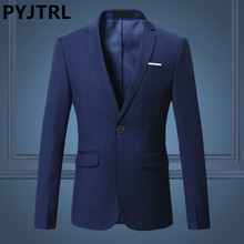 PYJTRL Mens Plus Size 4XL 5XL 6XL Casual Business Suit Jacket Navy Blue Black White Red Jaqueta Masculino Blazer Hombre Costume