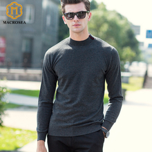 MACROSEA 2017 New Arrival Fashion Style Men's Wool Sweaters Male Business Casual Knitted Pullover Round Neck Brand Pullover(China)