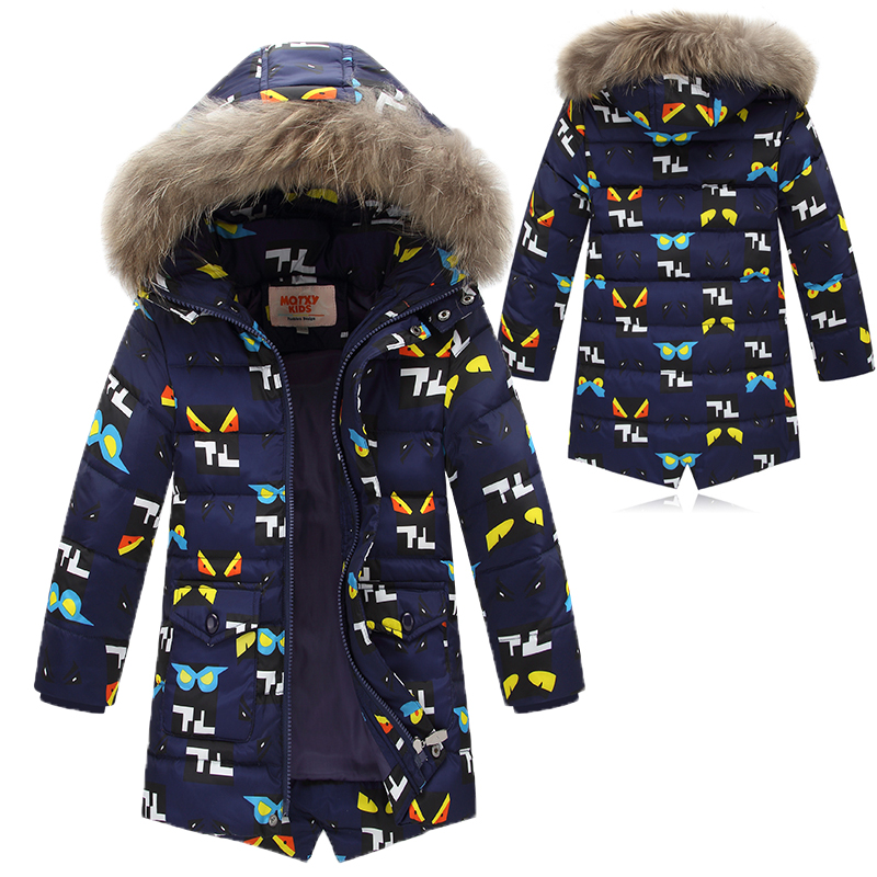 Natural fur Winter Boys Jacket Long Parkas Thick Warm Coats Raccoon Fur Hooded Children Down Jacket Boys Outwear Coat   TZ238<br>