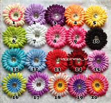 Hair accessory 50pcs/lot Wholesale Infant toddler baby girl clip Zebra gerbera daisy flowers for hair crochet headbands 20Colors