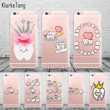 Unique Design Kawaii Tooth Love Phone Cases for iPhone 7 7Plus 6 6s 5 5s se Transparent Clear Silicone Cover Coque Capa
