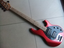 Wholesale New musicman 5 string electric bass guitar in Cherry Red top quality Bass guitar 110111(China)