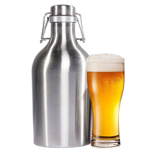 Food Grade 304 Stainless Steel Wine Barrel Beer Growler 34 / 68 Oz Mini Keg Swing Bottle Homebrew Outdoor Home Brewery Equipment(China)