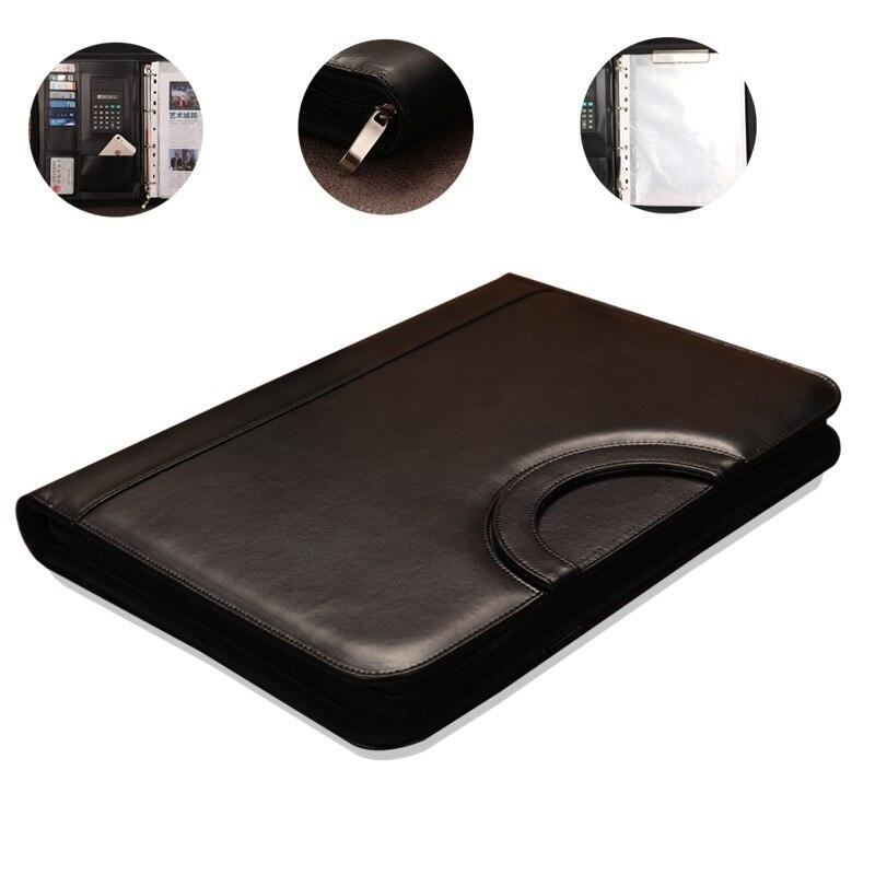wholesale business folder zipper PU leather portfolio a4 documents folder cases manager bag file padfolio binder file folder<br><br>Aliexpress