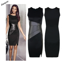 Dwayne moda mujeres sexy lápiz dress summer party dress vendaje de bodycon negro patchwork de cuero ol trabajo vestidos formales casuales