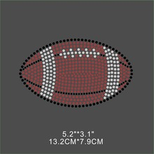 Football Hot Fix Iron On Rhinestone Transfer For T Shirt Custom Designs Wholesale(China)