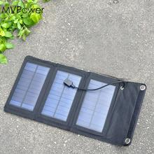 MVPower 5W 5V Foldable Solar Panel Battery Charger USB Solar Power Panel Bank Pack for Cellphone Black Portable
