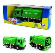 Wholesale ETI alloy sound light plastic die-cast car model children toy car gift Street sweeper clean car green color(China)