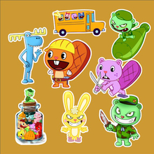8Pcs/Lot Happy Tree Friends Lumpy Cuddles Handy Flippy Toothy Decal Notebook Skateboard Trolley Case Backpack Tables PVC Sticker(China)