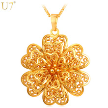 U7 New Exquisite Flower Charm Necklace Women Vintage Jewelry Gold Color Party Wedding Pendant Gift P903(China)