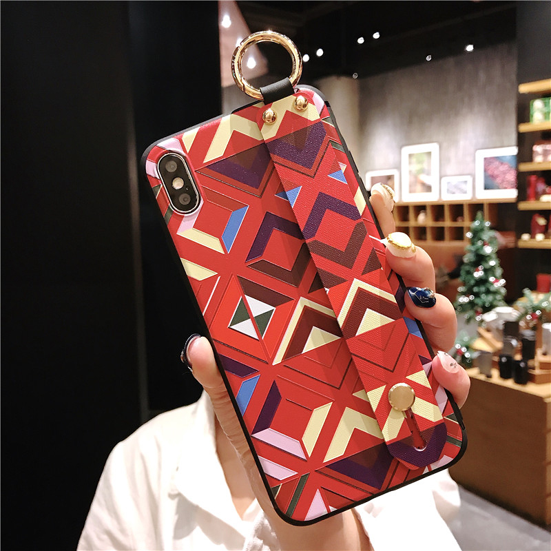 11 SoCouple Retro Grid Pattern Wrist Strap Phone Case For iphone 7 8 6 6s plus Case For iphone X Xs max XR Soft Silicone Case