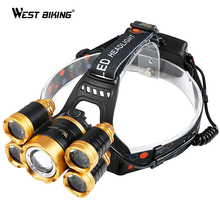 WEST BIKING Cycling Headlight 600 Lumens 5 LEDs Waterproof T6 Bulb USB Rechargeable High Power 4 Modes Outdoor Bicycle Headlamp(China)