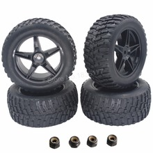 "4 Pieces 2.2"" RC Pull Rally Truck Tires & Wheel Rims 12mm Hub Hex For 1/10 HSP HPI Tamiya Redcat Exceed Off Road(China)"