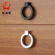 KAK 43mm Gold Silver Black Ring Circle Handles Zinc Alloy Door Handles Pulls Cabinet Drawer Pull American Style Furniture Handle