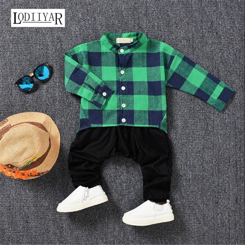 Cotton Children Clothing Set, 1pcs T-shirt + 1pcs Pants Boys Clothes Suit, Casual Korean Plaid Spring Summer  Baby Boys Clothing<br><br>Aliexpress