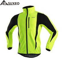 ARSUXEO 2017 Thermal Cycling Jacket Winter Warm Up Bicycle Clothing Windproof Waterproof Soft shell Coat MTB Bike Jersey 15-K(China)