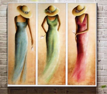 Hand Painted 3pcs Modern Abstract Figure Oil Paintings Love Heart Drawing Canvas Art a09