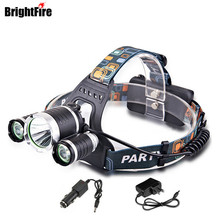 Professinal CREE Waterproof XML T6 LED Headlamp 4 Modes 6000LM Head Lamp Head Light with EU/US/AU/UK Charger and Car Charger