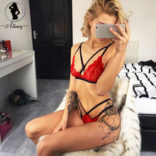Buy ALINRY 2018 New plus size sexy bra red black lace deep-V 3/4 cup push bralette+bandage briefs hollow bras underwear sets