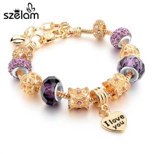 Buy Szelam New Arrival Women Heart Love Bracelet Gold Charm Bracelets Bangles Fashion Jewellery Pulseira Feminina Sbr160071 for $3.99 in AliExpress store