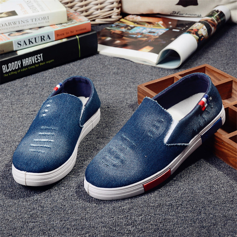 Men Casual Shoes Light Dark Blue Canvas Denim Flats Clothing Shoes Hombre Fashion Chaussure Breathable Slip-on  Walking Shoes<br><br>Aliexpress