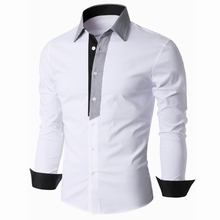 Foreign trade fine grid color men's Long sleeve shirt