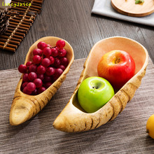 Modern wooden plate Original natural roots fruit plate household dried fruit melon seeds candy tray shell plate