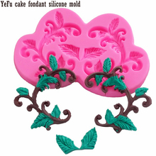 Plant vines silicone mold Leaves cake fondant molds tree leaf baking tools lace cake decorating tools F0943