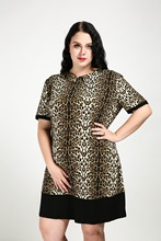 Women's Sexy Short Sleeve Plus Size Casual Leopard Dress Turn Down Collar Knee Length Party Dress Spring Autumn Dress(China)