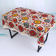 Fashion Bohemian Style Flower Printed Cotton Linen Table Cloths Covers Muliti-size Table Covers Wholesale