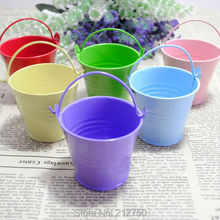 10 Colors nice lovely small plastic bucket candy box wedding favor box supplies 30pcs/lot Free Shipping