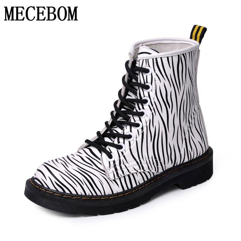 Women ankle boots Lace up Platform Shoes high-top animal prints boots  zebra-stripe women botas zapato size 36-40 8888W<br>
