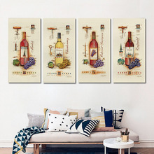 4 Piece Modern Wine Paintings Canvas Bottle Wall Art Canvas Posters Oil Painting Bar Kitchen Dinning Room Decor Picture No Frame