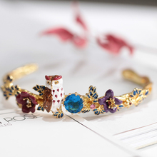France Fashion Gold Bangle Enamel Glaze Violet Owl Bule Crystal Flower Leaf Fine Bangle For Woman Jewelry(China)