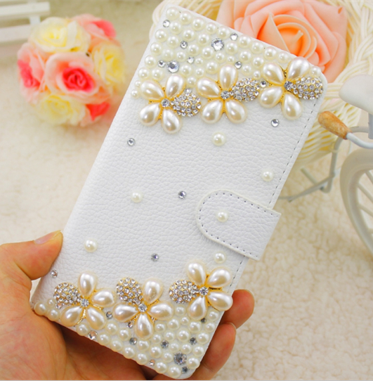Luxury Double Row Shine Pearl Flower Embossed PU Leather font b Case b font Cover for
